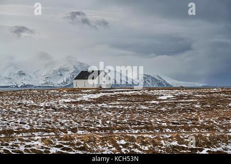 Paysage avec maison de campagne à l'islande Banque D'Images