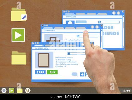 Digital composite de part touchent de nombreux site Web Windows sur du papier découpé desktop Banque D'Images