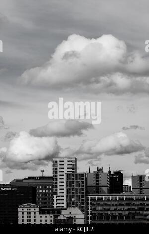 Photo portrait de Glasgow skyline pendant le jour en noir et blanc Banque D'Images