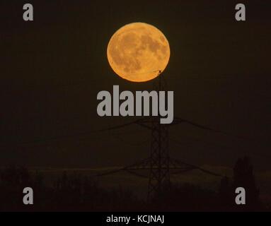 Londres, Royaume-Uni. 5Th oct, 2017. uk gibbeuse. météo Harvest Moon, la première pleine lune se levant le plus Banque D'Images
