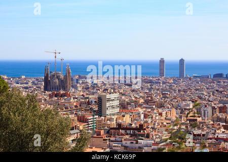 Le Parc Guell de Barcelone, Catalogne, Espagne Banque D'Images