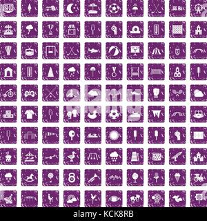 Aire de jeux 100 icons set grunge purple Banque D'Images