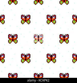 Point De Croix Pixel Art Animal Baleine Papillon Vector Set Vecteurs