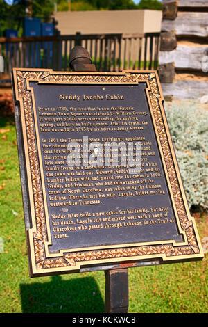 Neddy jacobs info cabine plaque dans le centre-ville historique de Liban, tn Banque D'Images