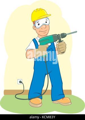 Vector cartoon d'un homme tenant une perceuse électrique Banque D'Images