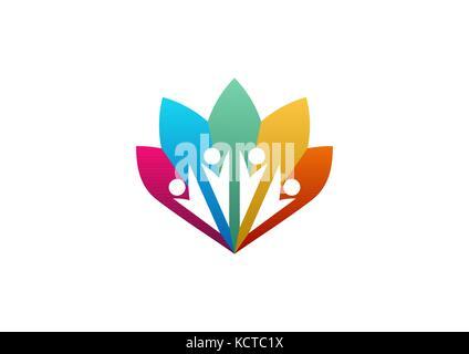 Arbre généalogique famille icône logo parents vecteur conception symbole de bien-être, people tree family health Banque D'Images