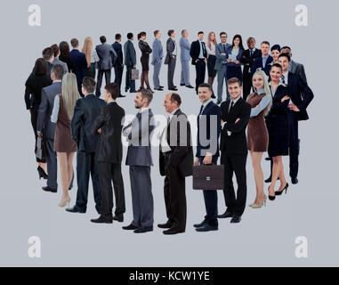 Groupe d'affaires se tenir en cercle isolated over white backgroun Banque D'Images