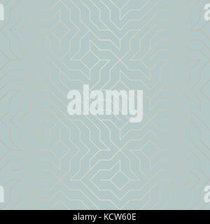Géométrique vectoriel continu golden line pattern. abstract background texture cuivre sur bleu vert. simple d'impression Banque D'Images