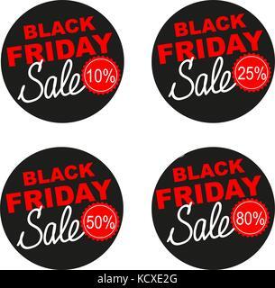 Le vendredi noir vente vector set autocollant isolé sur fond blanc. Banque D'Images