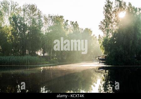 Les rayons du soleil à travers les branches de bouleau. Réflexions sur la surface de la rivière. Petit port. Banque D'Images