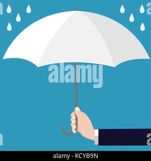 Ouvert a parapluie blanc, modèle plat style. vector illustration plate. Banque D'Images