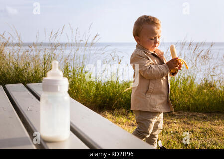 Baby Boy (18-23 mois) holding banana Banque D'Images
