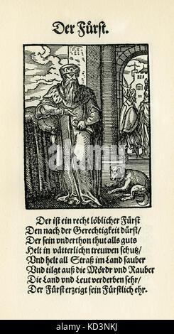 prince souverain / Furst (titre féodal allemand au pouvoir) du Livre des métiers / Das Standebuch (Panoplia omnium illiberalium mechanicarum...), Collection de coupures de bois par Jost Amman (13 juin 1539 -17 mars 1591), 1568 avec rhyme accompagné par Hans Sachs (5 novembre 1494 - 19 janvier 1576)