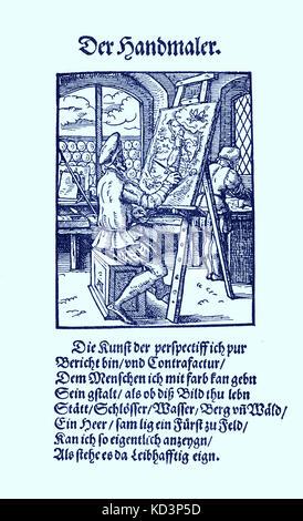 Illuminateur (der Briefmaler / Brieffmaler), du Livre des métiers / Das Standebuch (Panoplia omnium illiberalium mechancicarum...), Collection de coupures de bois par Jost Amman (13 juin 1539 -17 mars 1591), 1568 avec rhyme accompagné par Hans Sachs (5 novembre 1494 - 19 janvier 1576)