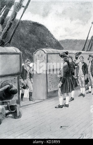 La fuite du général révolutionnaire américain Benoît Arnold (1741 - 1801) sur le navire britannique Vautour, 1780, après avoir défection aux Britanniques. Révolution américaine. Illustration de Howard Pyle, 1896