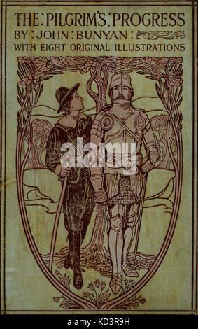 """Couvrir pour"""" le progrès du Pilgrim de ce monde à celui qui doit être livré sous la même similitude d'un rêve """" de John Bunyan. Illustration de Harold Copping."""