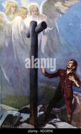 ' le progrès du Pilgrim de ce monde à celui qui doit venir sous la similitude d'un rêve ' par John Bunyan. Illustration de Harold Copping. Légende : « Christian perd son fardeau : maintenant qu'il regardait et pleurait, voici trois Shining qui lui arrivaient » (Chrisitian à la Croix)
