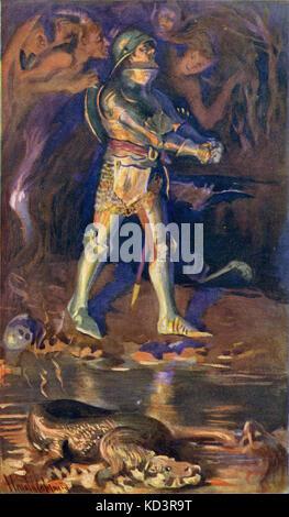 """' le progrès du Pilgrim de ce monde à celui qui doit venir sous la similitude d'un rêve ' par John Bunyan. Illustration de Harold Copping. Légende : """"horreurs de cette vallée - dans la vallée de l'ombre de la mort: Ainsi il pleura dans mon audition, O Seigneur, je te beseech te livrer mon âme""""."""