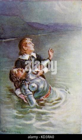 ' le progrès du Pilgrim de ce monde à celui qui doit venir sous la similitude d'un rêve ' par John Bunyan. Illustration de Harold Copping. Légende : « traverser la rivière : l'espoir s'efforcerait également de le réconforter, disant frère, je vois la porte ».