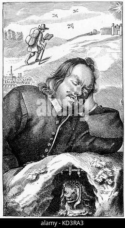 John Bunyan - frontispiece du livre de l'écrivain anglais 'The Pilgrim's Progress' (quatrième édition, 1680). 'Le progrès du Pilgrim de ce monde à celui qui doit venir sous la similitude d'un rêve'. Première publication 1678. Pèlerins. JB : 28 novembre 1628 - 31 août 1688. Écrivain religieux anglais, prédicateur, théologien, poète.