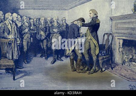 Washington prend congé de ses officiers, 4 décembre 1783, après la fin de la Révolution américaine. Illustration de Howard Pyle, 1896