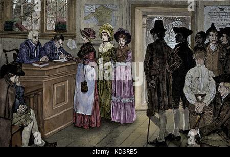 Les femmes qui votent aux urnes du New Jersey - les femmes ont eu le vote de 1790 à 1807, lorsque l'Assemblée générale a limité le suffrage aux citoyens libres, blancs et masculins. Illustration de Howard Pyle, 1880