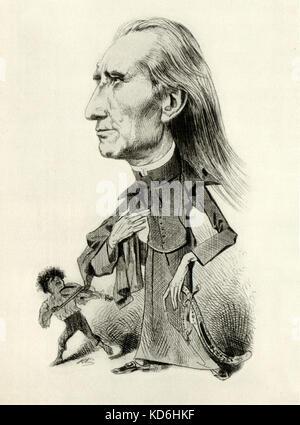 """""""Franz Liszt et le musicien tzigane (tzigane)'. Caricature de Karl Klics - pianiste et compositeur hongrois. Liszt Banque D'Images"""