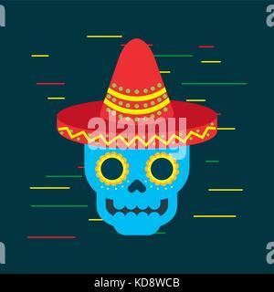 Le Jour des morts crâne bleu avec Mexican Hat ornament Banque D'Images