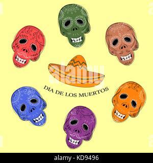 Dia de los muertos. le jour des morts les crânes de sucre Banque D'Images