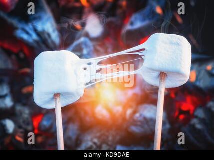 Deux guimauves grillées sur le feu extensible. flammes en brochettes marshmallow grillés sur charbon Banque D'Images