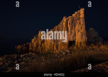 Vue de la nuit d'Arbatax rocce rosse en Sardaigne. arbatax Red Rocks, italie Banque D'Images