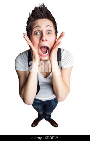 Femme avec des yeux grands ouverts et la bouche Banque D'Images
