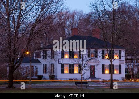 Harrington House à côté de l'hôtel Lexington Green où il meurt la lutte contre les Britanniques lors de la première bataille pour l'indépendance, Lexington, Massachusetts, USA