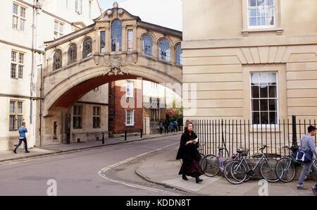 Oxford Oxfordshire, UK - le pont des soupirs en centre-ville d'oxford Banque D'Images