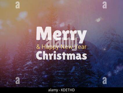 Digital composite de joyeux Noël et bonne année texte sur fond de neige Banque D'Images