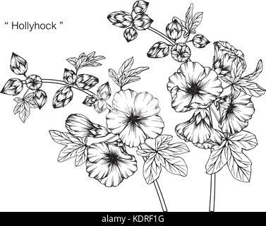 dessin de fleurs rose tr mi re illustration noir et blanc avec des illustrations vecteurs et. Black Bedroom Furniture Sets. Home Design Ideas