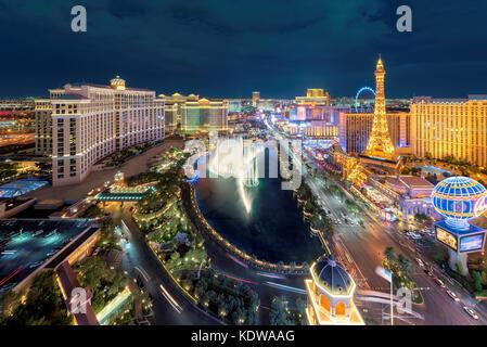 Vue aérienne de la bande de Las Vegas de nuit Banque D'Images