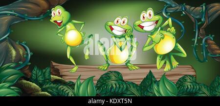 Trois grenouilles dansant sur log dans la jungle illustration Banque D'Images