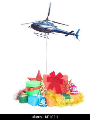 Hélicoptère avec cadeaux de noël concept livraison Banque D'Images