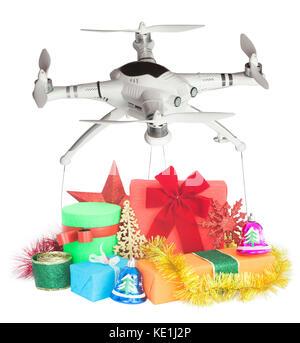Drone livraison de cadeaux pour les fêtes de Noël Banque D'Images