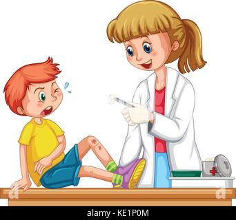 Médecin jusqu'cleanin la blessure de garçon illustration Banque D'Images