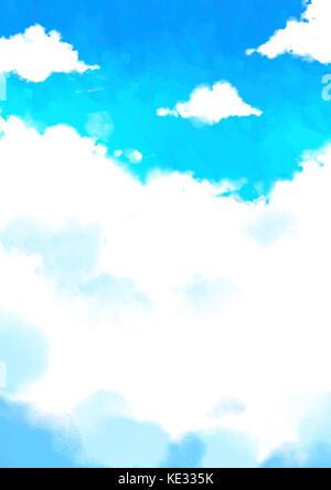 Aquarelle nuages dans le ciel bleu Banque D'Images