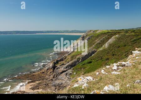 Falaises près de Southgate, péninsule de Gower, Swansea, Pays de Galles, Royaume-Uni