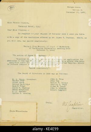 Lettre dactylographiée signée W.S. Chaplin, chancelier, Université de Washington, St Louis, à Mlle Phoebe Couzins, Banque D'Images