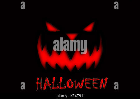 Journée de l'halloween à la citrouille diable sur le fond noir Banque D'Images