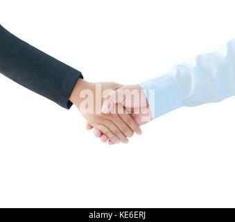 Main de l'homme et de la femme d'affaires métaphore de secousses et de coopération d'équipe concept isolé sur fond Banque D'Images
