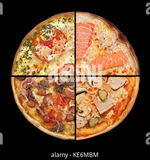 Mettre les tranches de pizza libre isolé sur fond noir Banque D'Images