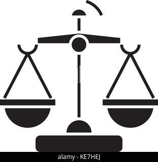 La loi et la justice - balances, icône illustration vectorielle, panneau noir sur fond isolé Banque D'Images