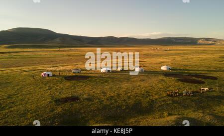 Vue aérienne de la famille gers en fin d'après-midi. khuvsgol, la Mongolie. Banque D'Images
