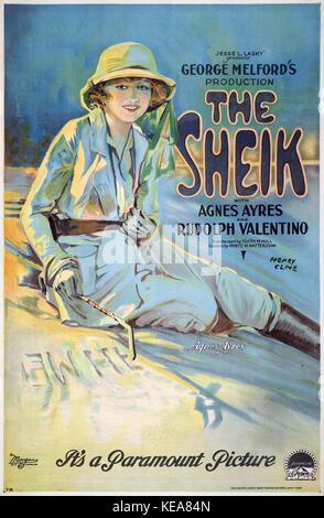Le sheik avec Agnes Ayres et Rudolph Valentino, l'affiche du film, 1921 Banque D'Images